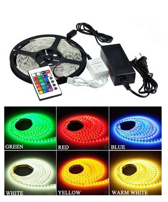 RGB sæt: 5m LED strip, 60 LED, 15w, kontroller og transformator